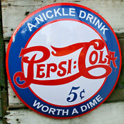 Vintage Pepsi Cola 17 Domed Round Button Metal Sign Man Cave Bar Decor New