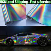 Full Roll 65ft X 5ft Silver Laser Holographic Chrome Vinyl Cover Car Foil Decals