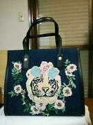 Tiger Denim Tote Bag Flower M Blue Embroidery Applique Rare From Japan