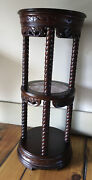 Vintage Ornate Carved Rose Wood W/ Marble Three Tier Plant Stand Side Table
