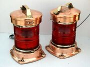 Set Of 2 Vintage Maritime Salvaged Copper Single Stacked Ship's Running Lights
