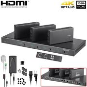 4x4 Hdmi Matrix With 3 Receivers 4k 60hz 131ft Over Cat6 Cable Hdbaset 3d Poc
