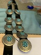 Navajo Sterling Sleeping Beauty Turquoise 11 Concho Belt Signed Emerson Kinzel