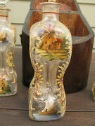 Antique Hand Painted Liquor Decanter Whiskey Wine Brandy Windmill Ship Bottles