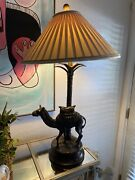 Maitland Smith Camel Lamp - Vintage Table Accent Lamp W/ Shade Working