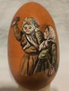 Antique Russian Imperial Easter Wooden Egg - Christ Is Risen Hand Painted
