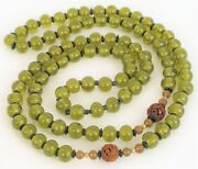Antique Chinese Green Bead Peking Glass Shou Necklace Carved Wood Beads Art Deco