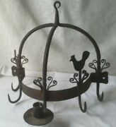 Antique French 18th.c Wrought Iron Butcher Hanging Organizer Towel Pot Rack