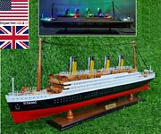 Rms Titanic Wood Cruise Boat Ship Model 23 With Flash Light - White Star Line