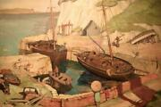 Alexander Macpherson 1904-1970 Scottish Oil Painting French Fishing Harbour