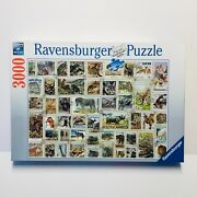 Ravensburger 3000 Piece Jigsaw Puzzle Animal Stamps 48 X 32 Complete Very Good