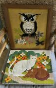Vintage Textile Crewel Wall Art Swedish Friends Brown And White Cats And Owl