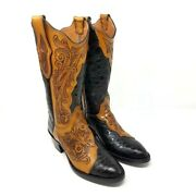 Black Jack Womens Hand Tooled Leather Caiman Crocodile Western Boots Size 6 C