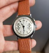 Rare Vintage Single Button Steel Chronograph Valjoux 22 Gh Circa 1920andrsquos 37mm Top