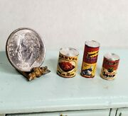 Vintage Lot Metal Food And Cleaner Cans Campbell's Soup Dollhouse Miniature 112