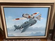 Ww2 Aviation Oil Painting By Raymond Waddey 89 Signed Jack Conger