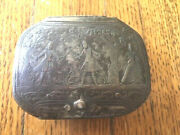 Antique 1700and039s Metal And Silver Snuff Box With Sword Fighting Scene