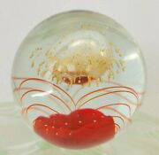 Vintage Art Glass Doorstop Paperweight- Pulled Feather-aventurine- Abstract- Red