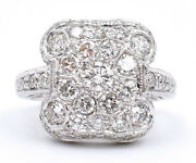 Large 1.50ct Diamond Statement Ring Made In 18k White Gold Antique Reproduction