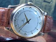 1944 Omega 14k Solid Pink Gold Man's Wrist Watch 30t2sc 16j Nice Dial Keeps Time