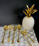 Vintage Stainless Gold Spun Royal Gallery Flatware Kitchen 6 Serving Pieces