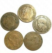 Set 5 Coins 2 Cents France 1854a1855a1856b1862a And K. Ad1015