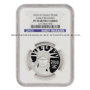 2010-w 100 Platinum Eagle Ngc Pf70ucam Early Releases Ultra Cameo 1 Oz Proof