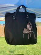 Victoria's Secret Black Tote Bag With Pink Chair And Bouquet Nwt