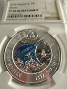 2018 Cayman Islands Marlin 1oz Silver Proof Colorized Coin Ngc Pf70 Pop=9