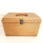 Vintage Wilson Wil-hold Brown Plastic Basket Weave Sewing Craft Box With Trays