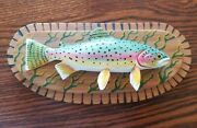 Bill Green Carved Painted Trout Fish Plaque Decoys Grand Rapids Mn Excellent