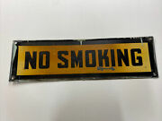 """Vintage Antique Painted Metal No Smoking Sign 24""""x7"""" Rare Double Sided"""