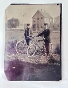 Vintage Antique 1890and039s Safety Bicycle Tintype Photo W/ Two Men Large Size 5x7