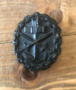 A German First War Naval Wound Badge Metal Black Genuine Not Reproduction