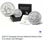 2021 P Tuskegee Airmen National Historic Site 5 Oz Silver Low Mintage On - Hand
