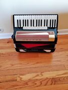 Black And Red Accordion Hohner Lucia Iv P With 96 Bass Keys