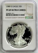 1989 S American Silver Eagle Proof 1 Dollar Coin Ngc Pf 69 Uc