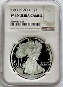1993 P American Silver Eagle Proof 1 Dollar Coin Ngc Pf 69 Uc