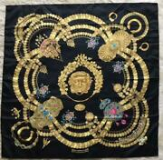 Hermes Scarf Stole Carre 90 Kosmima Space 100 Silk Gold Vintage From Japan Used