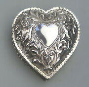 A Good Antique Solid Silver Novelty Heart Box Comyns C.1895