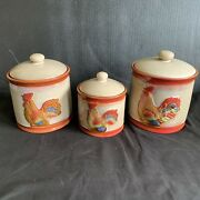 Set Of 3 Rooster Canisters Stoneware Chicken Country Kitchen