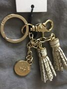 Brahmin Fossil Twin Tassel Key Ring Charm Melbourne Croc Embossed Leather, Nwt