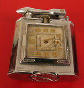 Antique Chase Clock Lighter Newsol Watch Cigarette Cigar Triangle