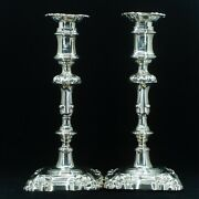 Antique Pair Of Solid Silver Victorian Candlesticks - Henry Wilkinson And Co 1857