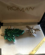 Roman Genuine Crystal And Enamel Brooches Set Of 2 Insects Vintage