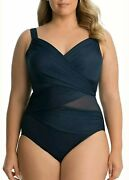 Miraclesuit Women's 173661 Plus Solids Madero One-piece Midnight Blue Size 20 W