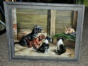 Vintage Multiple Dogs Painting Dachshund With Friends Absolutely Gorgeous