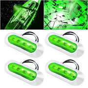 4x Marine Boat Led Courtesy Lights Cabin Deck Walkway Stair Light Green 12v