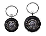 Chevy Rally Wheel Image Keychain Necklace Tie Clip Cufflinks Button Jewelry Sets