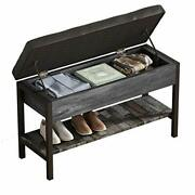 Qeeig Gray Shoe Storage Bench With Cushion Shoes Rack For Entryway End Of Bed Wi